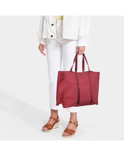 1adc588b7d4806 ... Vanessa Bruno - Cabas Est Ouest Red Tote In Canvas And Sequins - Lyst  ...