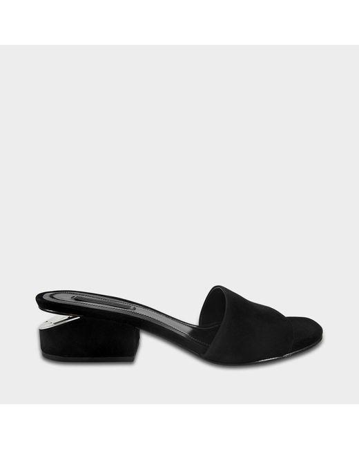 Alexander Wang - Lou Low Heel Sandals In Black Goatskin - Lyst