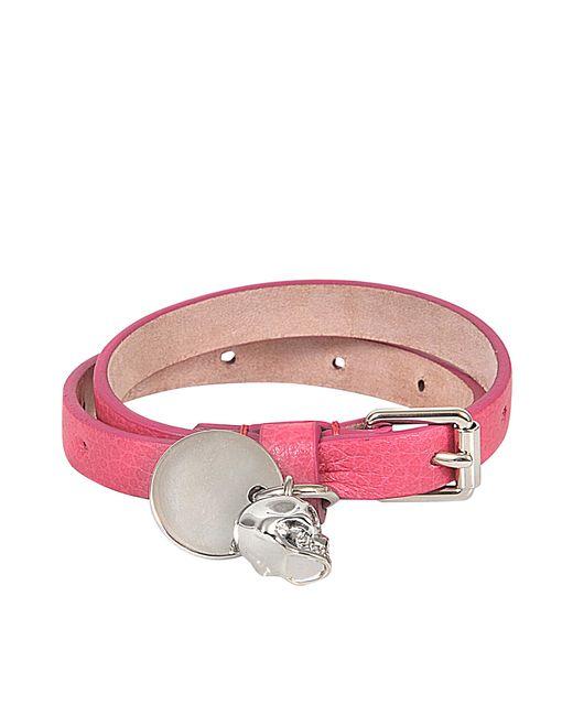 Alexander McQueen - Pink Skull Charm Double Bracelet - Lyst