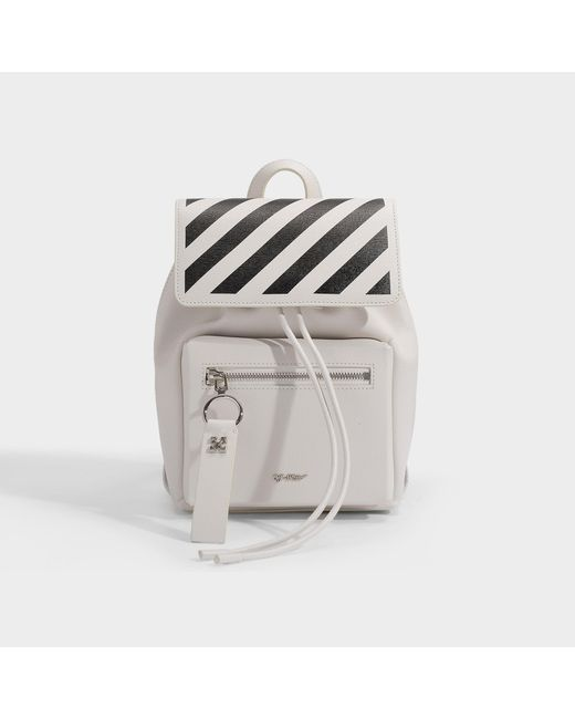Off-White c/o Virgil Abloh Diag Binder Backpack In Off-white And Black Calfskin