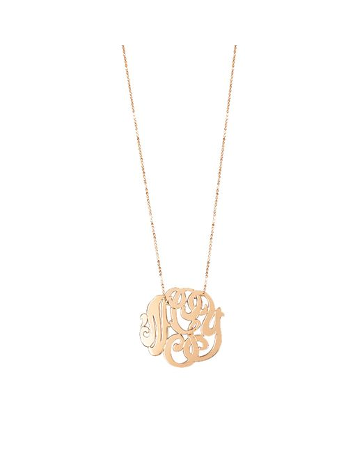 Ginette NY | Metallic Rose Gold Monogram Necklace | Lyst