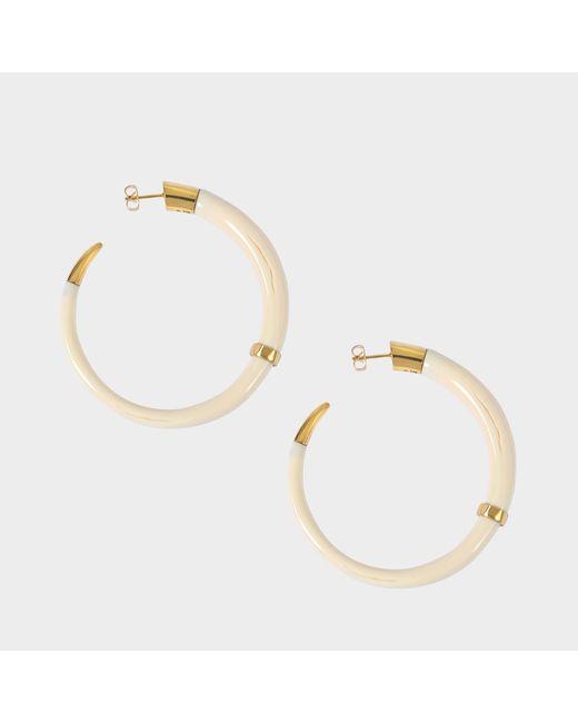 Aurelie Bidermann - Metallic Caftan Moon Bakelite Hoop Earrings - Lyst
