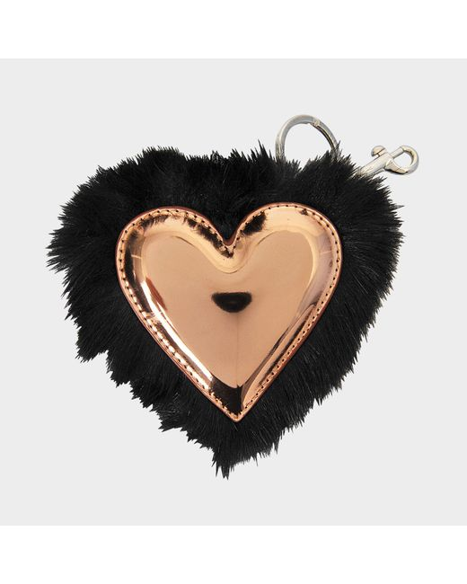 Stella McCartney - Black Eco-fur Heart Keyring - Lyst