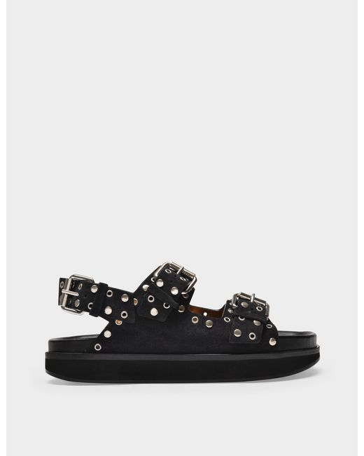 Isabel Marant Ophie Sandals In Faded Black Leather