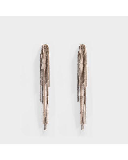 Helene Zubeldia - Palace Long Clip Earrings With Cascade Chain In Metallic Aluminium - Lyst