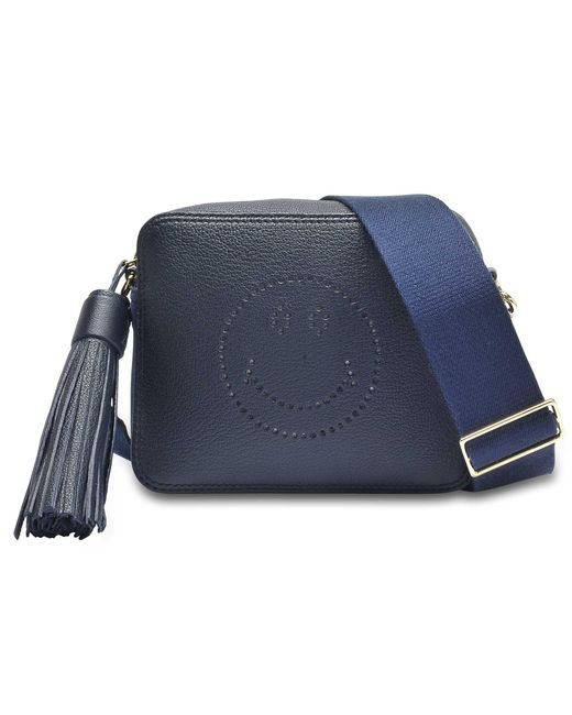 Anya Hindmarch - Blue Crossbody Smiley Bag In Metallic Capra - Lyst