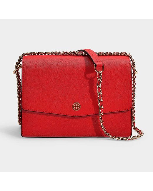 a8e92c87984a Tory Burch - Robinson Convertible Shoulder Bag In Brilliant Red Calfskin -  Lyst ...