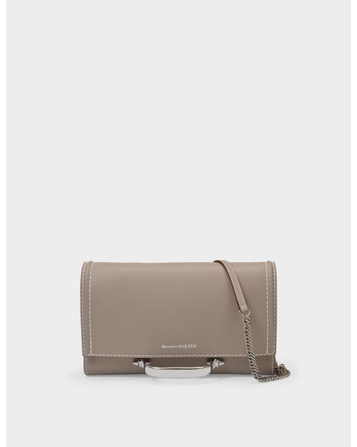 Alexander McQueen Pink The Story Crossbody In Taupe Leather