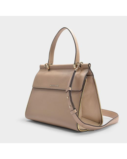 006604a2318d ... MICHAEL Michael Kors - Natural Jasmine Medium Top Handle Satchel Bag In  Truffle Calfskin - Lyst ...
