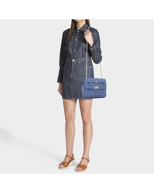 e7ebd561aa98 ... Valentino - Rockstud Spike Medium Shoulder Bag In Blue Quilted Denim -  Lyst ...