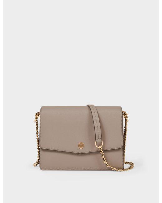 Tory Burch Natural Branded Shoulder Bag Beige