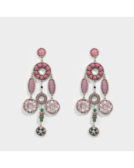 Marc Jacobs - Jeweled Statement Earrings In Pink Brass - Lyst