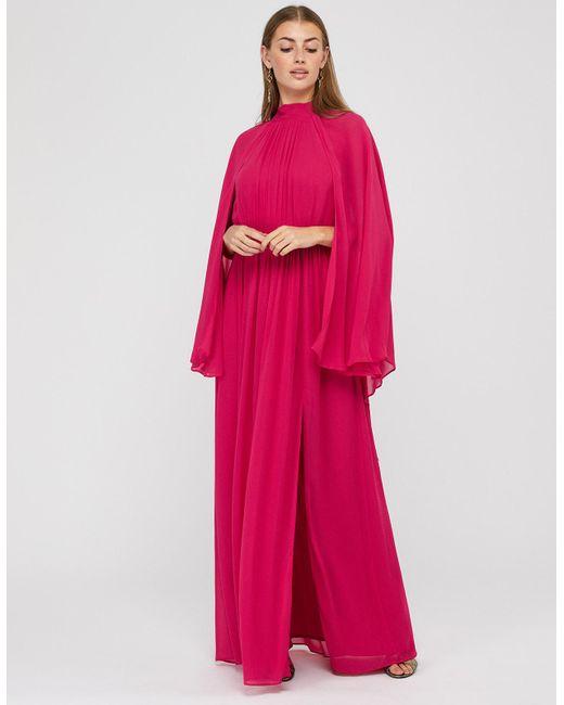 Monsoon Pink Kate Cape Maxi Dress