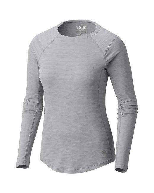 Mountain Hardwear - Gray Mighty Stripe Ls T - Lyst