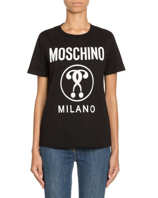T-shirt En Jersey Double Question Mark Moschino en coloris Black