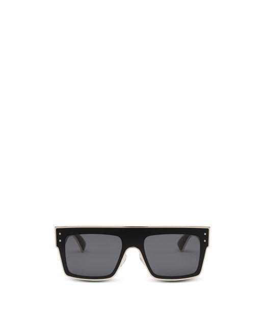 Occhiali Da Sole Quadrati Con Profili Oro di Moschino in Black