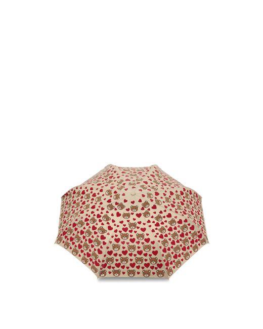 Moschino Natural Bear Hearts Openclose Mini Umbrella