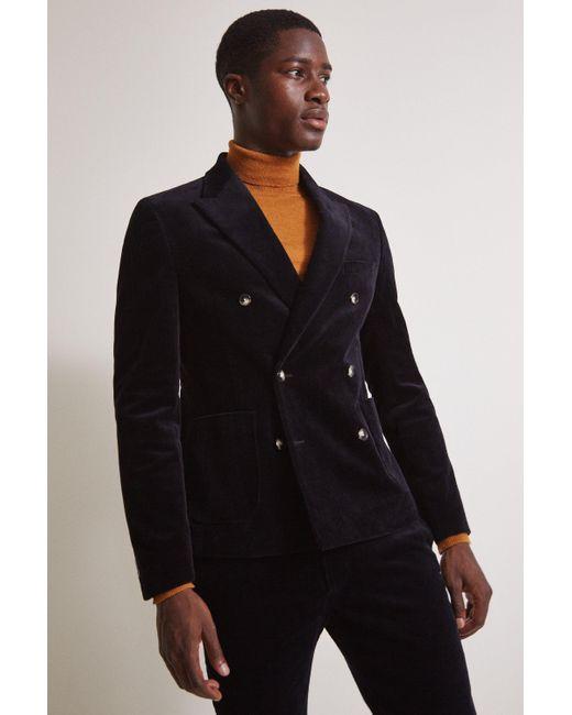 Moss London Black Slim Fit Ink Corduroy Jacket for men