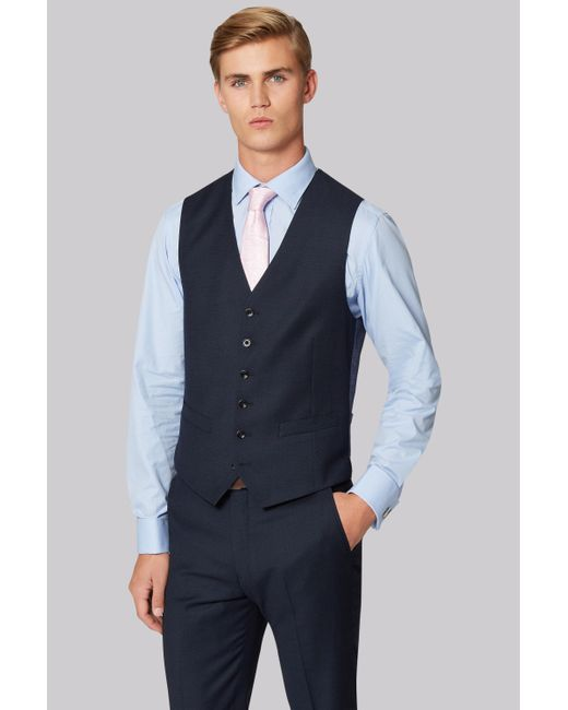 Hardy Amies   Blue Tailored Fit Navy Birdseye Waistcoat for Men   Lyst