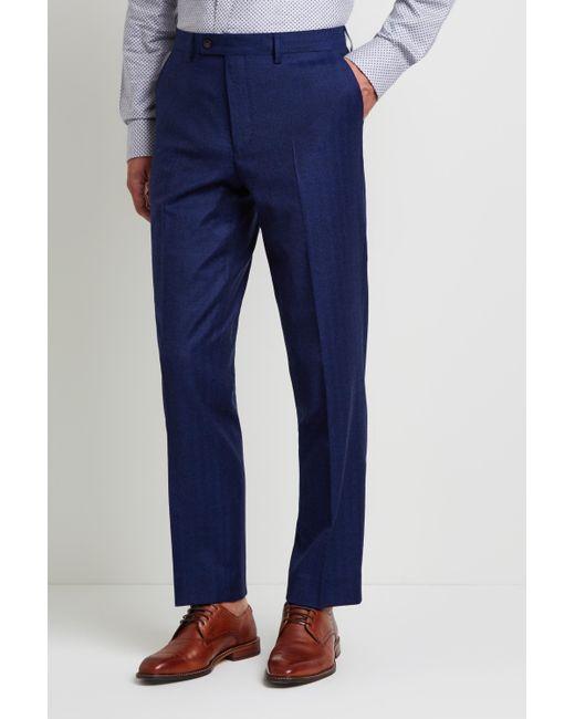 3489eb663ba Men's Metallic Gold Tailored Fit Blue Herringbone Trousers
