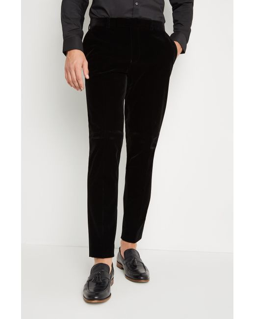 Moss London Skinny Fit Black Velvet Dress Trousers for men