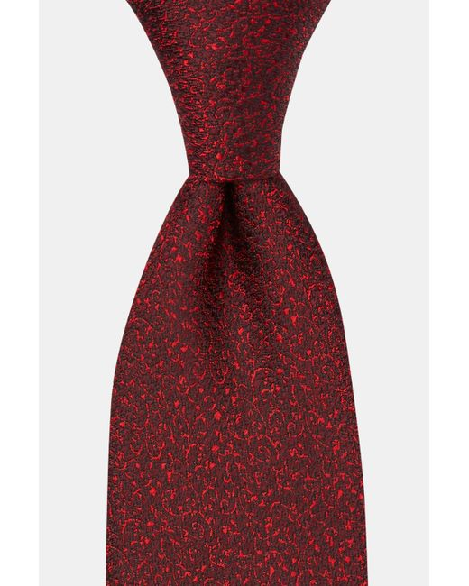 DKNY Red Burgundy Small Tonal Floral Silk Tie for men
