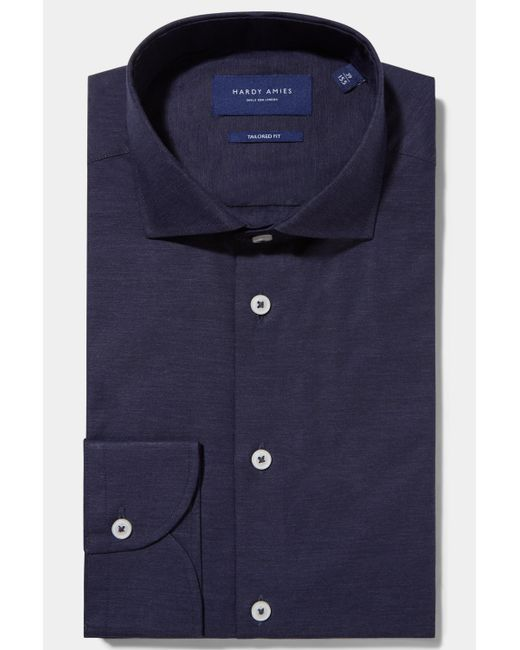 Hardy Amies - Blue Tailored Fit Navy Single Cuff Melange Shirt for Men - Lyst