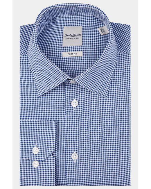 Hardy Amies - Blue Slim Fit Navy Single Cuff Dobby Check Shirt for Men - Lyst