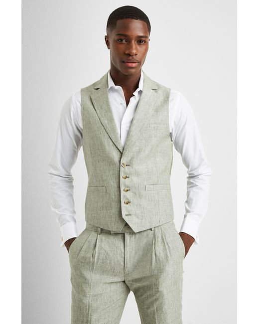 various design top quality best choice Slim Fit Sage Linen Waistcoat