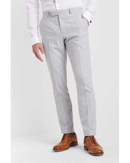 Moss London Slim Fit Grey Prince Of Wales Check Suit Trousers Mens Formal Pants