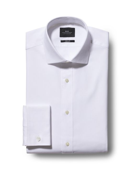 Moss Bros - Extra Slim Fit White Double Cuff Stripe Shirt for Men - Lyst