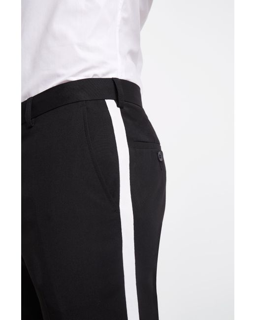 3186e689 Men's Skinny Fit Black With White Side Stripe Cropped Pants