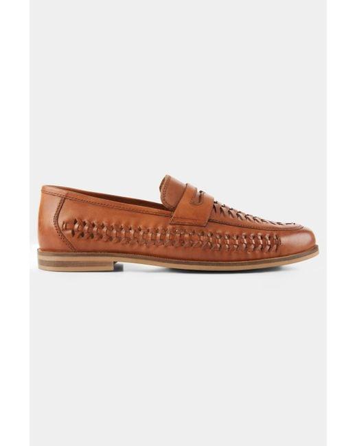 3f3681fff4dfa Moss London - Brown Ashwick Tan Leather Lattice Loafer Shoe for Men - Lyst  ...