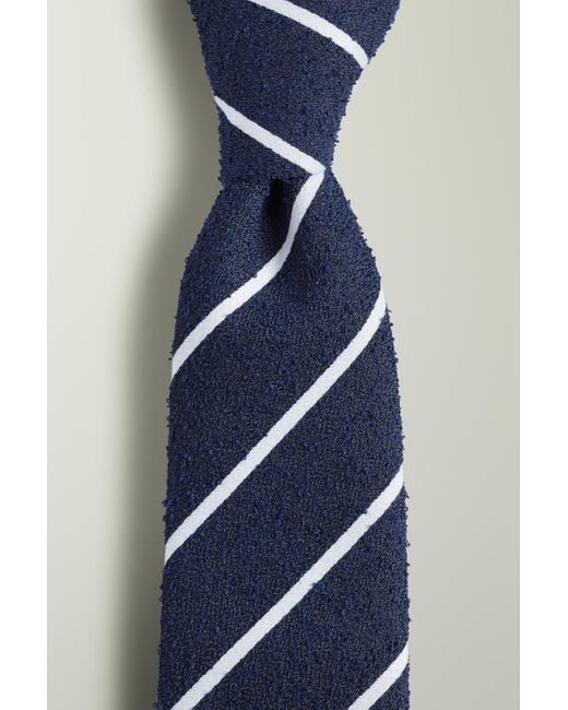 Moss London Blue Navy With White Stripe Boucle Tie for men
