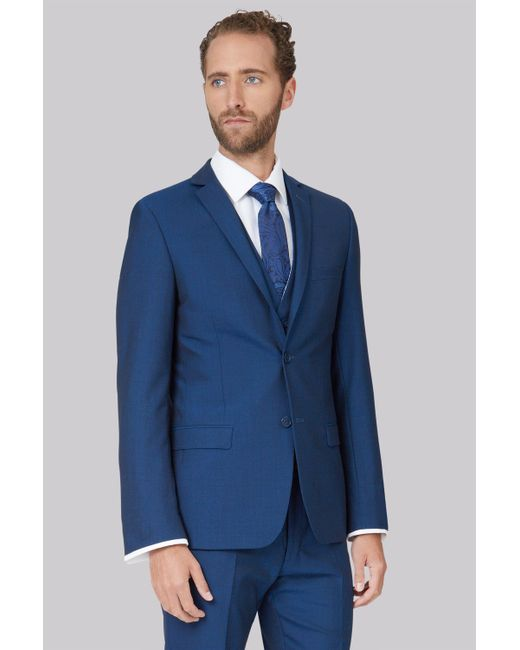 da61e2e944ee Ted Baker - Blue Tailored Fit Teal Mohair Look Jacket for Men - Lyst ...