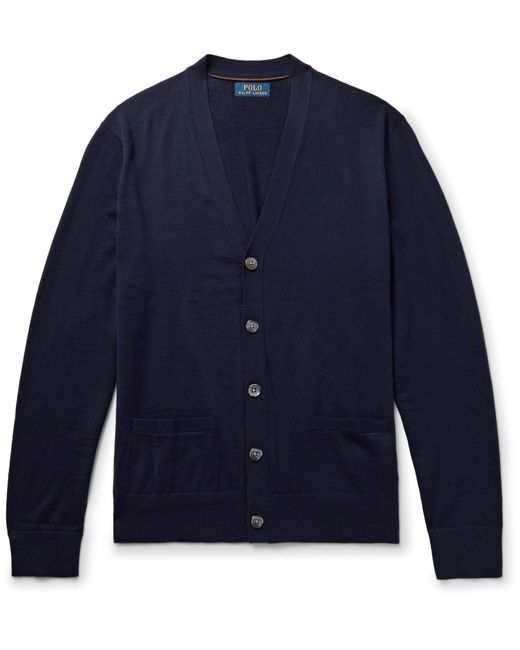 Polo Ralph Lauren | Blue Suede Elbow-patch Merino Wool Cardigan for Men | Lyst