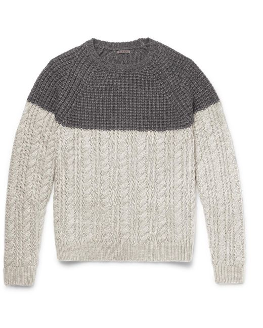 Barena | Gray Two-tone Waffle And Cable-knit Wool-blend Sweater for Men | Lyst
