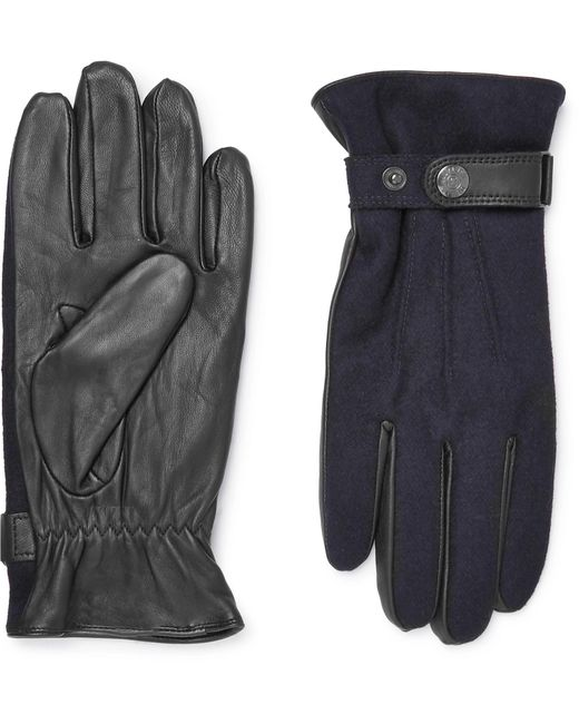 Dents Blue Flannel And Leather Gloves for men