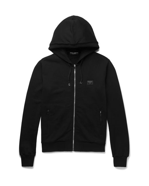 Dolce & Gabbana | Black Cotton-jersey Zip-up Hoodie for Men | Lyst