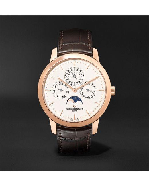 Vacheron Constantin Metallic Traditionnelle Perpetual Calendar Automatic 41mm 18-karat Pink Gold And Alligator Watch, Ref. No. 43175/000r-9687 for men