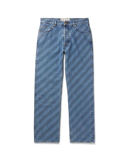 Marni Blue Striped Denim Jeans for men