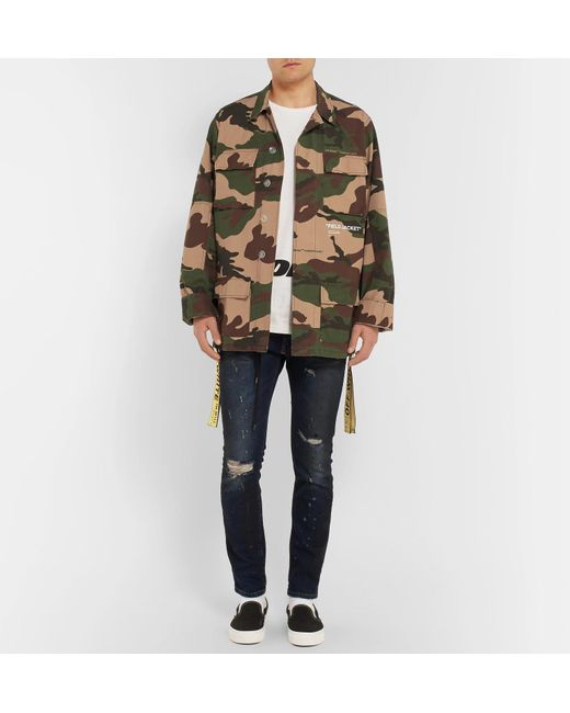 Trimmed Abloh Co Oversized Camouflage Canvas Virgil Off Green White wFt7q7