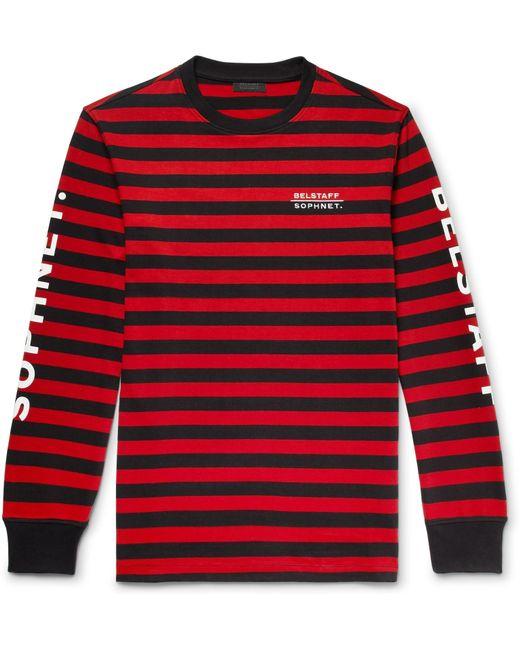 Belstaff - Red + Sophnet Slim-fit Logo-print Striped Cotton-jersey T-shirt for Men - Lyst