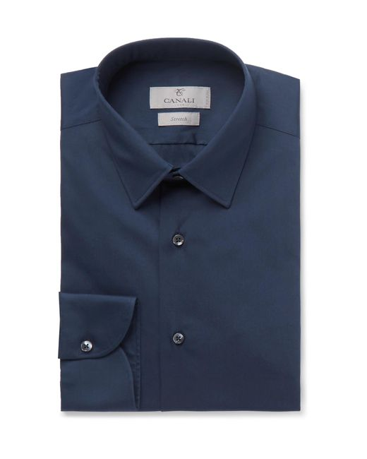 Canali - Blue Navy Slim-fit Stretch Cotton-blend Shirt for Men - Lyst