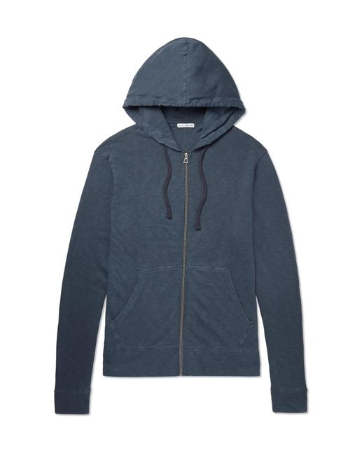 James Perse Blue Loopback Supima Cotton-jersey Zip-up Hoodie for men