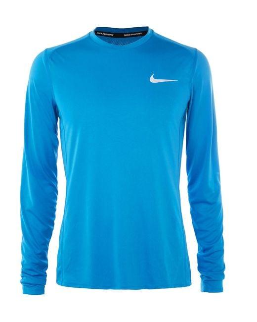 Nike | Blue Miler Mesh-panelled Dri-fit Running T-shirt for Men | Lyst