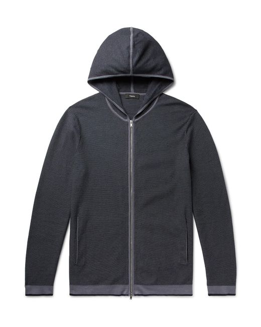 Theory Blue Braghe Textured Cotton-blend Zip-up Hoodie for men