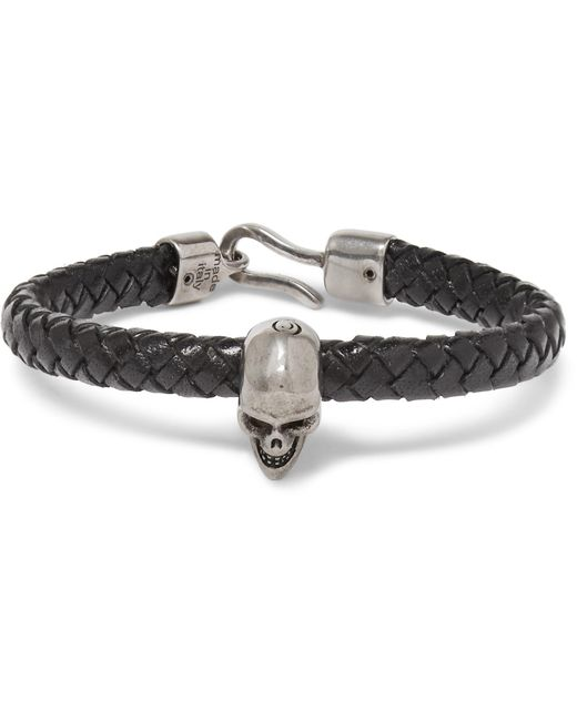 Alexander McQueen - Black Braided Leather And Burnished Silver-tone Skull Bracelet for Men - Lyst