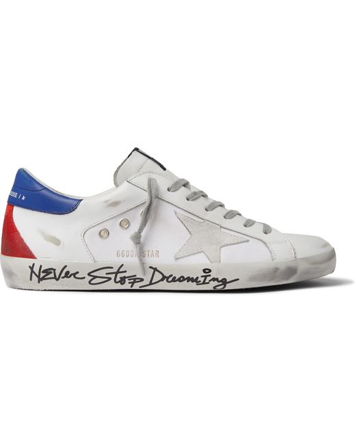 Golden Goose Deluxe Brand White Superstar Distressed Leather, Canvas And Suede Sneakers for men