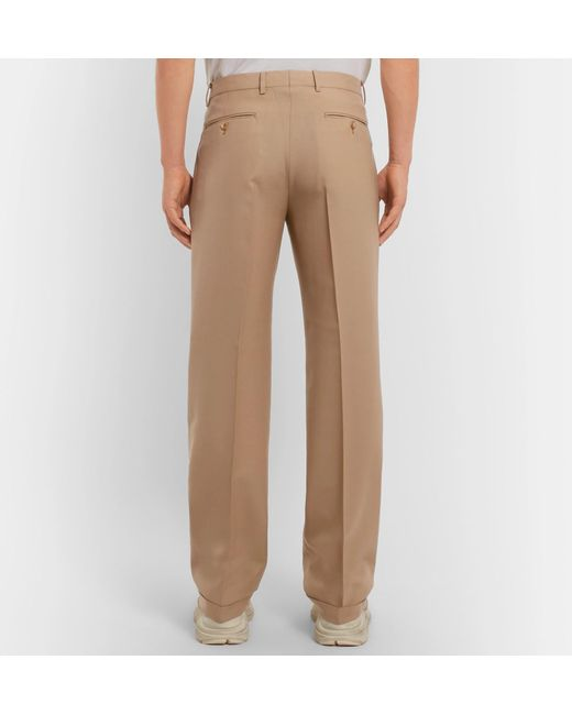 54800dde1 ... Gucci - Natural Pleated Wool Trousers for Men - Lyst ...